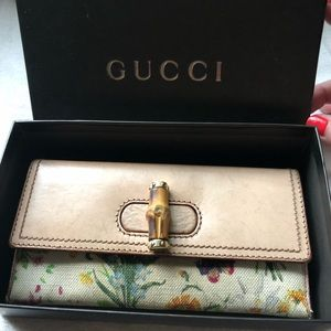GUCCI Leather & Flora Canvas Bamboo Wallet Clutch